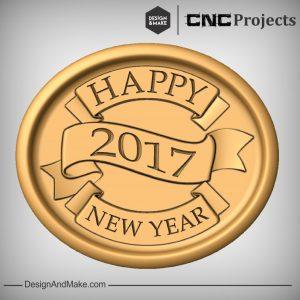 Happy New Year Plaque CNC Model