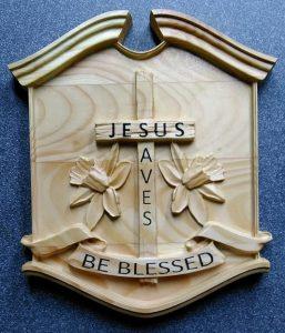Jesus Cross Plaque Sign CNC