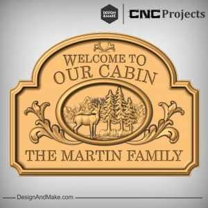 Wooden Cabin Sign CNC