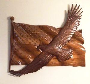 Wood American Flag Eagle Plaque CNC