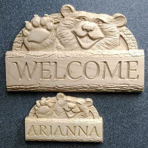 Bear Waving Welcome sign and Childs Door Sign