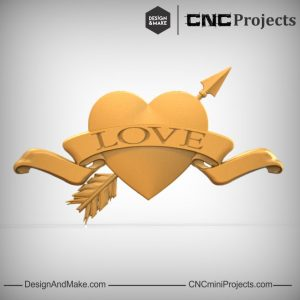 Love Heart Ribbon Arrow CNC