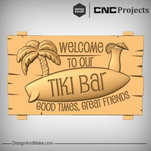 Tiki Bar Surf Board CNC Sign