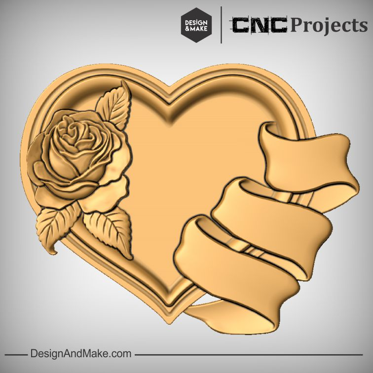 Rose Heart Ribbon CNC Models