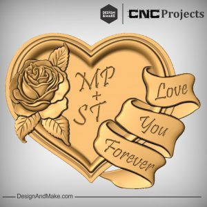 Rose Heart Ribbon CNC Models