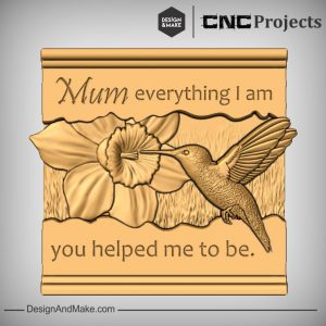 Mom Sign Humming Bird CNC Wood Example