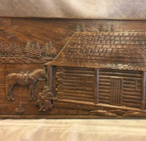 Western Scene Guitar Cabin Horse Wood CNC