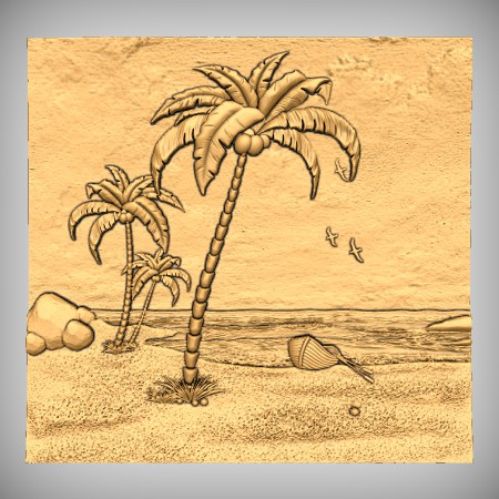 Palm Trees Beach CNC Model