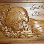 God Bless America Eagle Wood CNC