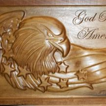 God Bless America Eagle Wood CNC