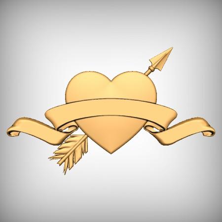 Heart Arrow Ribbon CNC Model