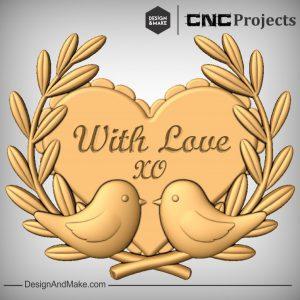 Love Hearts Bird Leaves CNC Model