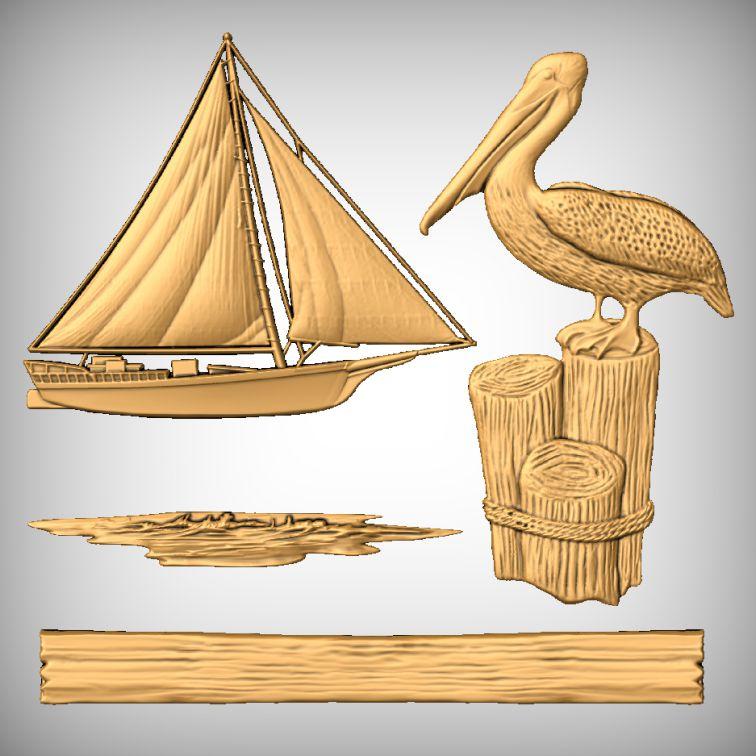 Sea Boat Bird CNC Models
