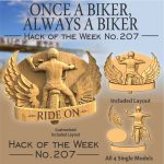 Ride on biker sign