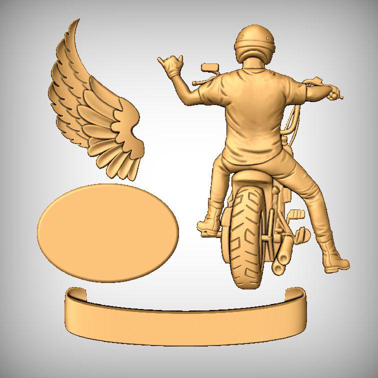 Ride on biker sign models