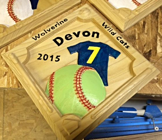 Baseball number hoops plaque