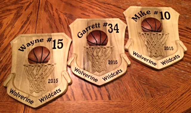 Basketball numbered wood sign