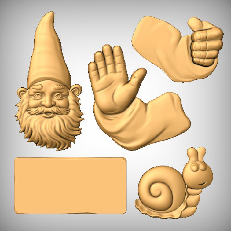 All CNC models Waving Gnome Sign